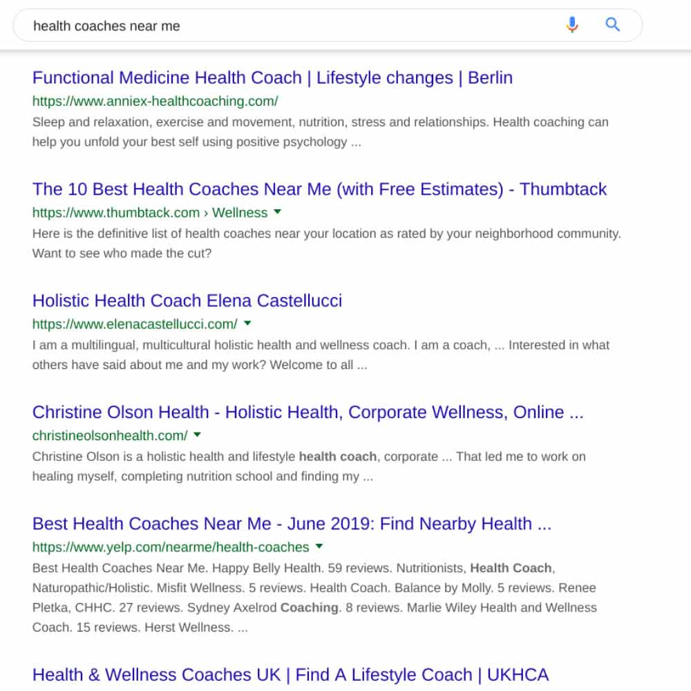 Google health coaching search results