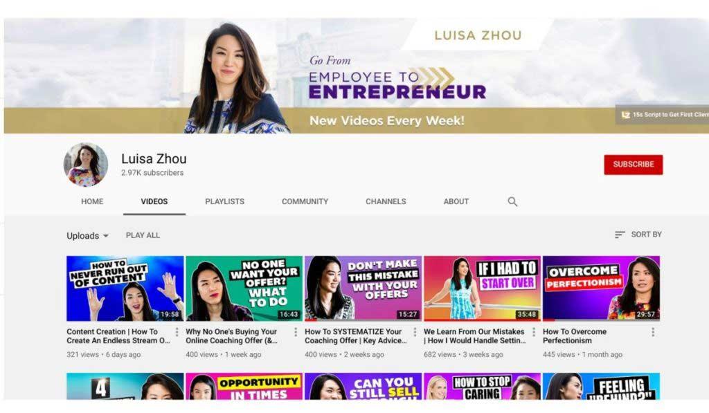 luisa zhou youtube feed